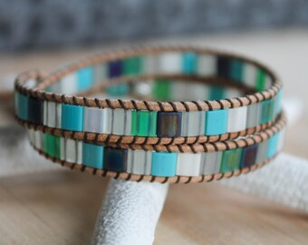 Leather Wrap Bracelet, Tila Beads, Wrap Bracelet, Cuff Bracelet, Boho Chic, Bohemian, Beach, Bracelet, Leather Bracelet, Leather Wrap