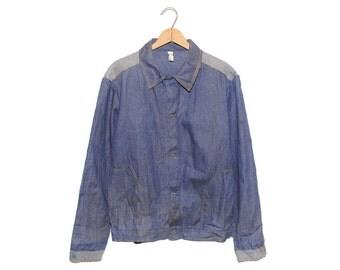 Vintage European Dark Blue Two Tone Weathered Cotton Button Up Chore Coat - Medium (os-ewj-8)