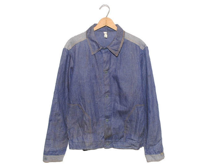 Vintage European Dark Blue Two Tone Weathered Cotton Button Up Chore Coat - Medium