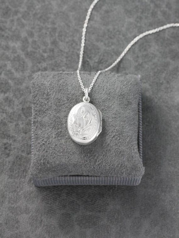 Small Sterling Silver Oval Locket Necklace, Feminine Classic Vintage Birks Pendant - Timeless