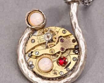 Steampunk Pendant Steampunk Necklace Steampunk Jewelry Opal