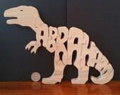 CLAYTON T Rex Dinosaur Puzzle in Poplar Hardwood painted green