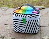 Black & White Stripes and Patchwork Rainbow Train Case