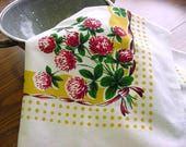 Lucky Clover -STARTEX Vintage 50s Towel Table Topper - Red Yellow Green Lg Kitchen Dish Towel NOS Unused