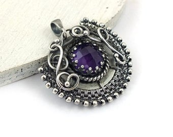 Wire wrapped pendant, purple amethyst jewelry, silver jewelry, round gemstone jewelry, everyday jewelry