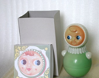 Vintage Roly Poly Ding Doll - Nevalyashka - 23cm - Red - 1983s - from Russia / Soviet Union / USSR