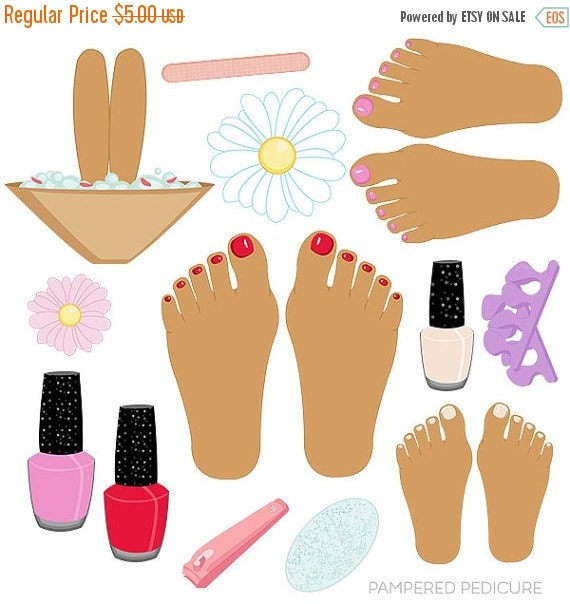 Pedicure Clipart: ON SALE Pampered Pedicure V2 Cute Digital By JWIllustrations