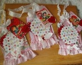 Valentine's Day heart tags vintage style cute children party favors gift tags paper art tags gift for friend Shabby Chic tags