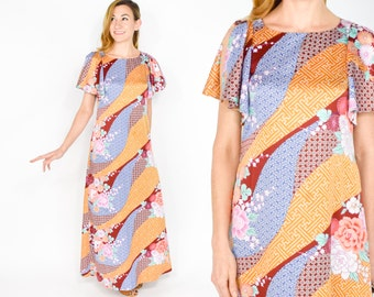70s Colorful Print Maxi Dress | Hawaiian Flutter Sleeve Dress, Small