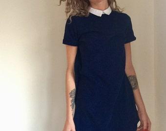 vintage navy mini dress / dark blue lolita schoolgirl / wednesday adams / mia farrow / 1960s 60s style