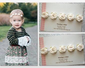 Felt Flower Crown, Baby Flower Crown, Felt Flower Garland, Felt Flower Headband, Ivory and Gold Baby Headband, Newborn/Toddler/Baby Headband