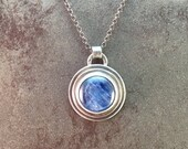 20% Off Sale Kyanite Cabochon Sterling Silver Rustic Metalwork Necklace Pendant