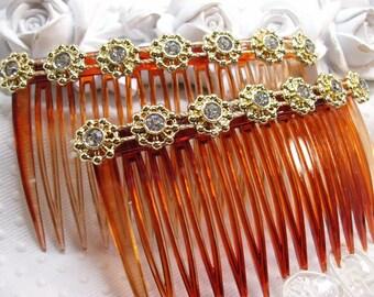 Handmade Hair comb Fascinator Pair gold tone Aztec design with rhinestones