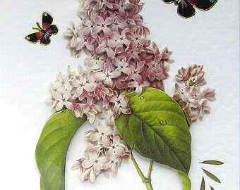 Lilac Flower Hand Crafted 3D Decoupage Card, Blank for any Occasion (1951), Birthday Card, Layered Card, Spring, Flower Card, Get Well Card