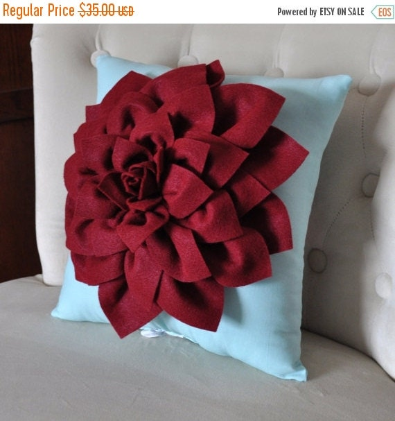 "SALE Shabby Chic - Dahlia Felt Flower Decorative Pillow  -Ruby Red on Aqua - 14"" x 14"" -Poinsettia -Pick your Colors- Mum Flower Pillow"