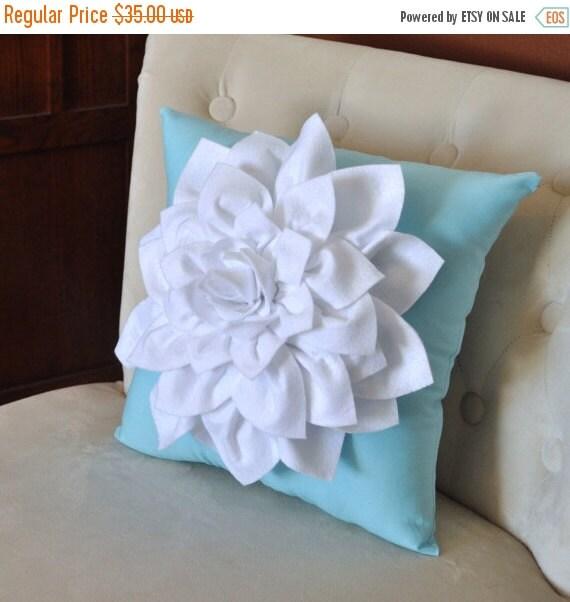 SALE White Dahlia Felt Flower on Blue Pillow