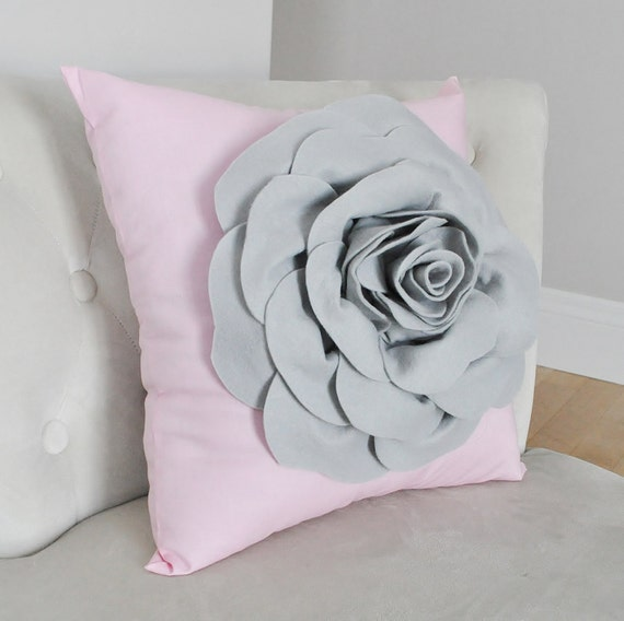 Pillows, Nursery Pillow, Pillow Cover, Pink and Grey Pillow, Rose Pillow, Love Pillow, Valentines Day Pillow, Nursery Decor, Gray Rose Pink