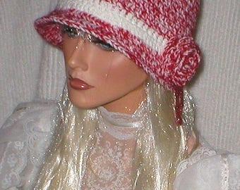 35% OFF SALE Crochet Women 1920's White Red Metallic Shimmer White Red Mohair Red Jade GemstoneTeardrop Rose Cloche Flapper Hat