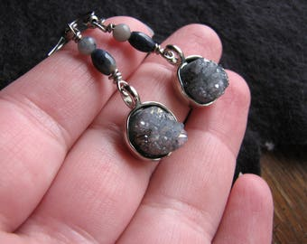 Druzy earrings | silver | crystal dangle | gray | dumortierite quartz | for her