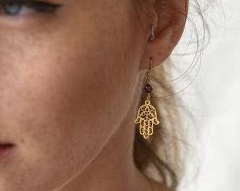 Hamsa Earrings, Hand Earrings, Kabbalah Earrings, Filigree Hamsa, Hamsa Charm, Lucky Charm, Filigree Charm, Evil Eye Earrings, Protection