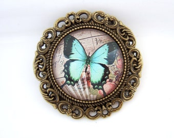 Butterfly Brooch-Cameo Brooch-Lepidoptera Brooch-Gift for Her-Vintage Style Brooch-Nature Lover Gift-Insect Jewelry-Stocking Filler