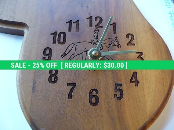 Equestrian Gift For Her, Horse Lover, Equestrian Gift, Gift For Her, Wood Clock, Vintage Clock, Saddle