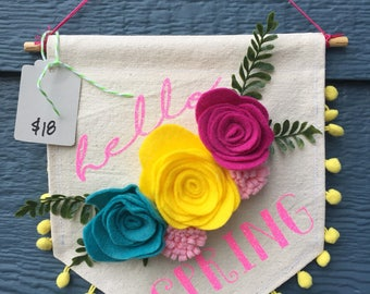 Hello Spring Banner with Flowers