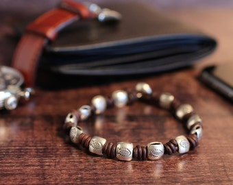 Fish Bracelet Mens Bracelet Silver Bracelet Hill Tribe Bead Bracelet Mens Leather Bangle Mens Leather Bracelet Mens Jewelry Gift For Men