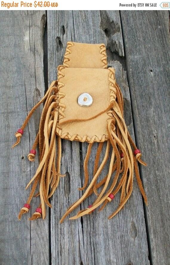 Fringed hip bag ,     Leather hip bag ,   Buckskin leather belt bag , Medicine bag , Hip bag