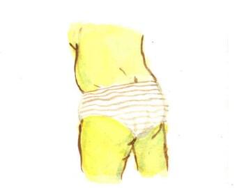 """Little Butt Watercolor #23 - 2""""x2"""""""