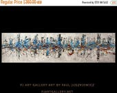 "17% OFF /ONE WEEK Only/ Enormous original abstract by Paul Juszkiewicz 72"" inch 6 ft long minimalism blue unique"