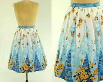 1950's Yellow Flower Full Skirt M L 31 Waist Daisy Sunflower