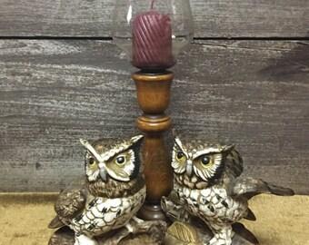 Owls Statue Candleholder
