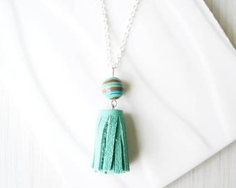 Long Turquoise Necklace, Leather Tassel Jewelry,  3rd Wedding Anniversary Gift, Boho, Bohemian, Silver, Synthetic Malachite