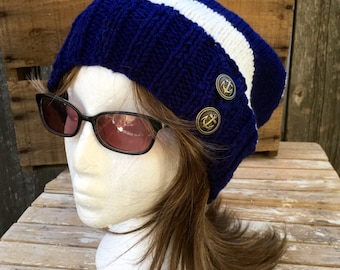 Slouchy Beanie, Striped hat with Anchor Buttons, Blue and White Striped Beanie with Antiqued Brass Anchor Buttons, Winter Hat, Nautical Hat