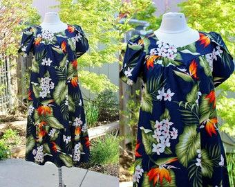 1990's Navy Blue Floral Hawaiian Dress Short Small Cotton Vintage REtro 90's Royal Creations Hawaii Bird of Paradise Ferns Aloha Islands