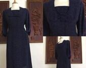 ON SALE Vintage 40s / 50s / Boston Maid / Navy Blue / Dress / Plus Size / Extra Large