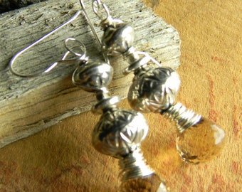 Tribal Primitive Beaded Jewelry Faceted Quartz Earrings Hill Tribe Silver Whiskey Smoky