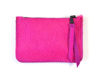 Pink Hair On Hide Leather Zip Pouch Purse Wallet Handmade