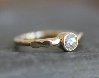 Moissanite Engagement Ring - Solid 14K Gold Pebble Band - 5mm Rose Cut Gemstone  - Eco Metal - Diamond Alternative