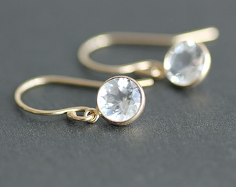 Earrings - 14K Gold with 6mm White Topaz Bezel Drops - Solid 14K Gold Ear Wires - Bridal Jewelry