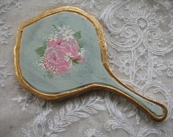 Vintage Florentine Hand Mirror ~ Turquoise/Gold Florentine Mirror