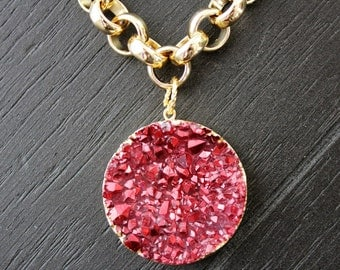 Druzy Necklace Gold Chunky Necklace Quartz Necklace Titanium Druzy Necklace Red Necklace Christmas Necklace