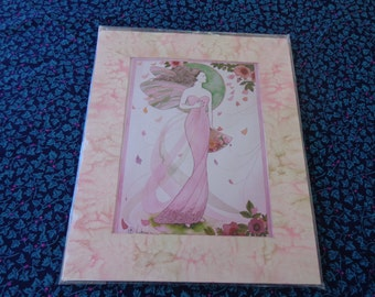 Home Decor - Rose Fairy Victoria print - On foam backing with pink swirl matte
