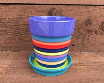 Medium Ceramic Flower Pot with Drip in Bright Rainbow Colors Stripes - Bright Heather Purple Interior with Teal and Lime Green Dish