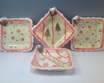 Christmas plate/Christmas snack plates/holiday dishes/horsdevoures plates/Christmas trees/snack sets/holiday snack set