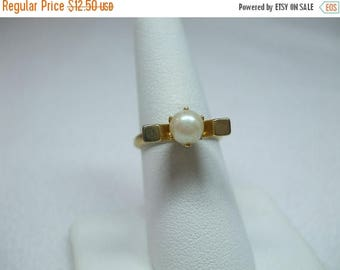 SALE 50% OFF Vintage smile goldtone adjustable genuine pearl ring