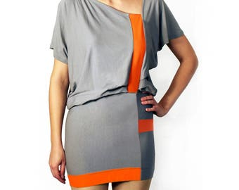Gray orange colorblock dress, Two tone dress, Hand made clothing (D3)