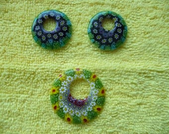 Focal, Millefiori glass multicolored, Package of 3