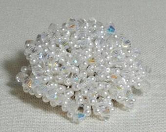 White Pearl AB Swarovski Crystal Beaded Cluster Brooch Pin Vintage